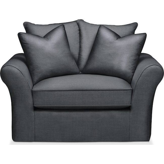 Living Room Furniture - Allison Chair and a Half- Comfort in Milford II Charcoal