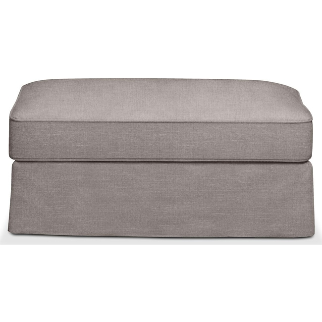 Living Room Furniture - Allison Ottoman- Comfort in Curious Silver Rine