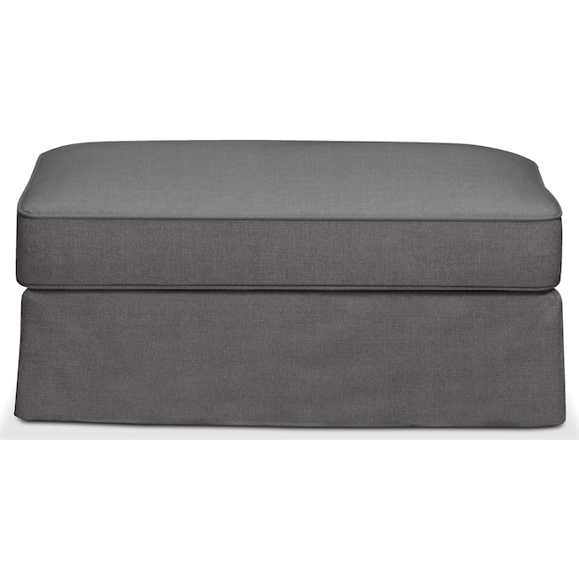 Living Room Furniture - Allison Ottoman- Comfort in Hugo Graphite