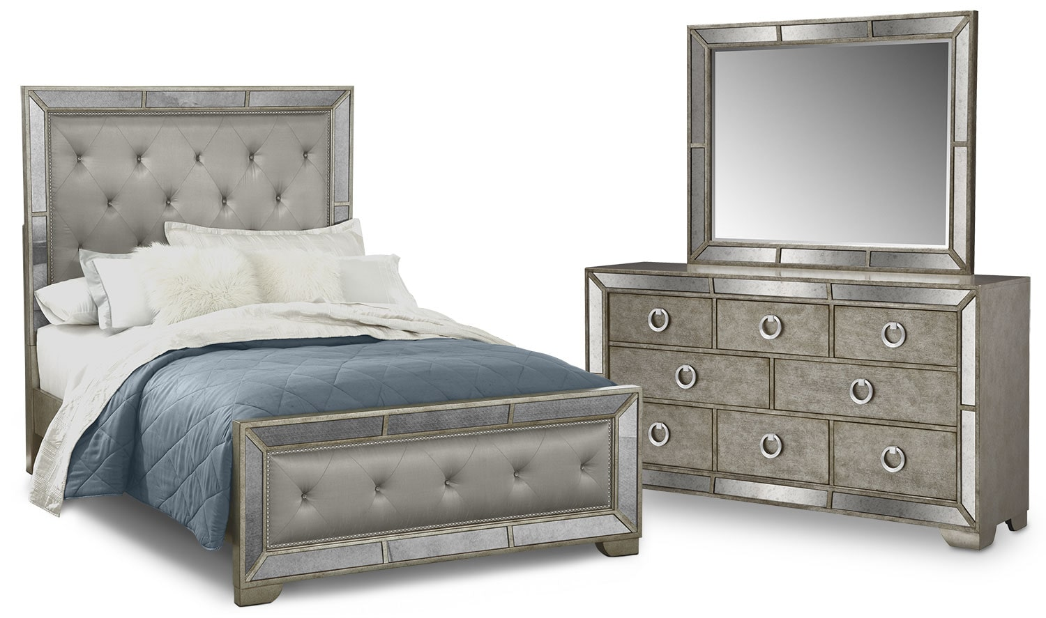 Bedroom Furniture - Angelina 5-Piece Upholstered Bedroom Set with Dresser and Mirror