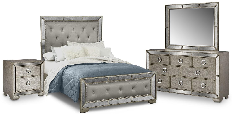 Angelina 6 piece king bedroom set metallic american for American furniture king bedroom sets