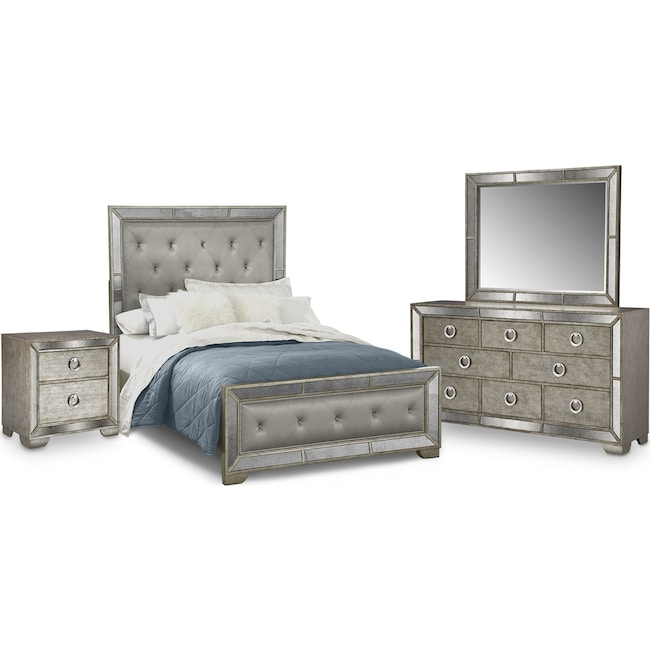 Bedroom Furniture - Angelina 6-Piece Upholstered Bedroom Set with Nightstand, Dresser and Mirror
