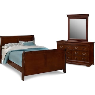 Neo Classic 5-Piece Bedroom Set with Dresser and Mirror
