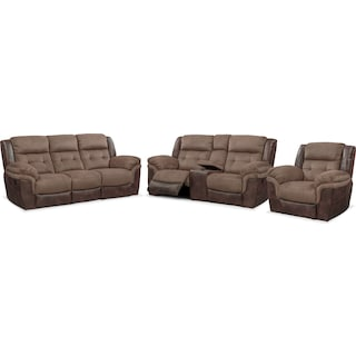 Tacoma Manual Reclining Sofa, Loveseat and Glider Recliner Set - Brown