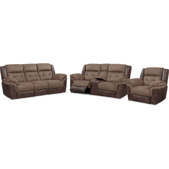 Living Room Furniture - Tacoma Manual Reclining Sofa, Loveseat and Glider Recliner Set