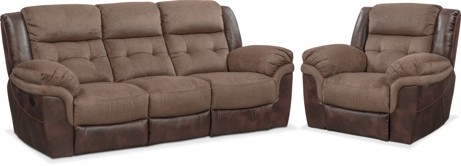 Living Room Furniture - Tacoma Manual Reclining Sofa and Glider Recliner Set