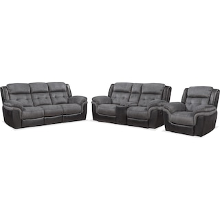 Tacoma Manual Reclining Sofa, Loveseat and Glider Recliner Set - Black