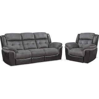Tacoma Manual Reclining Sofa and Glider Recliner Set - Black