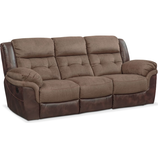 Living Room Furniture - Tacoma Manual Reclining Sofa - Brown