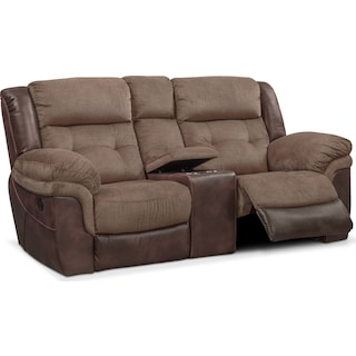 Tacoma Manual Reclining Loveseat with Console - Brown