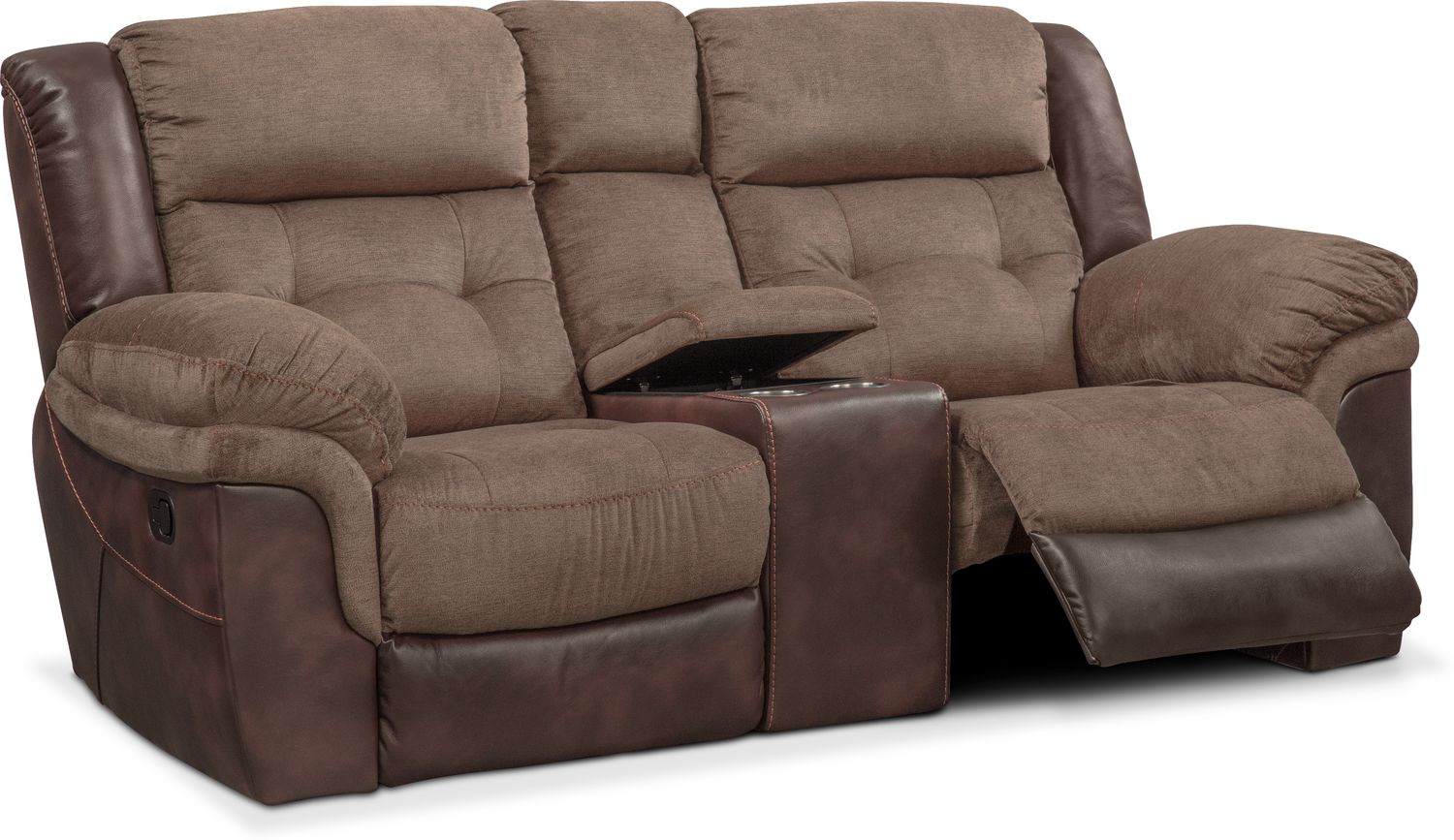 Attirant Living Room Furniture   Tacoma Manual Reclining Loveseat With Console    Brown