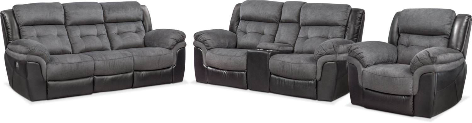 Living Room Furniture   Tacoma Dual Power Reclining Sofa, Loveseat And  Recliner Set   Black