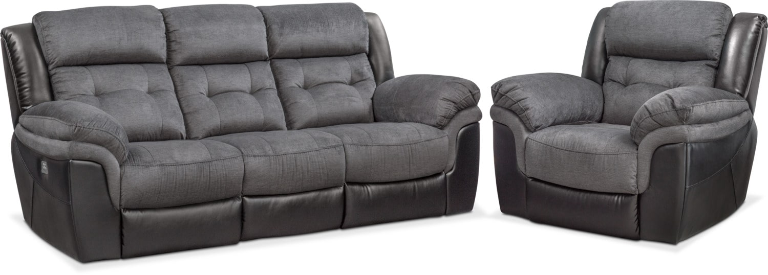Living Room Furniture - Tacoma Dual-Power Reclining Sofa and Recliner Set