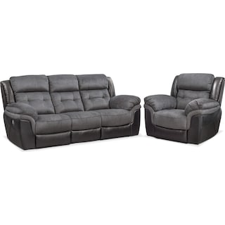 Tacoma Dual-Power Reclining Sofa and Recliner Set - Black