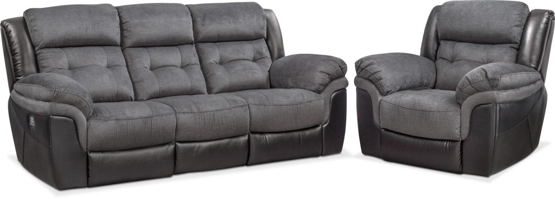 Living Room Furniture   Tacoma Dual Power Reclining Sofa And Recliner Set    Black