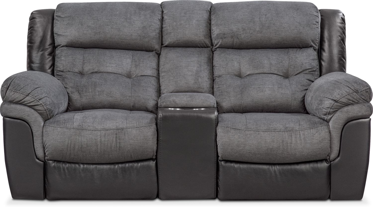Tacoma Dual Power Reclining Loveseat With Console Black American Signature Furniture