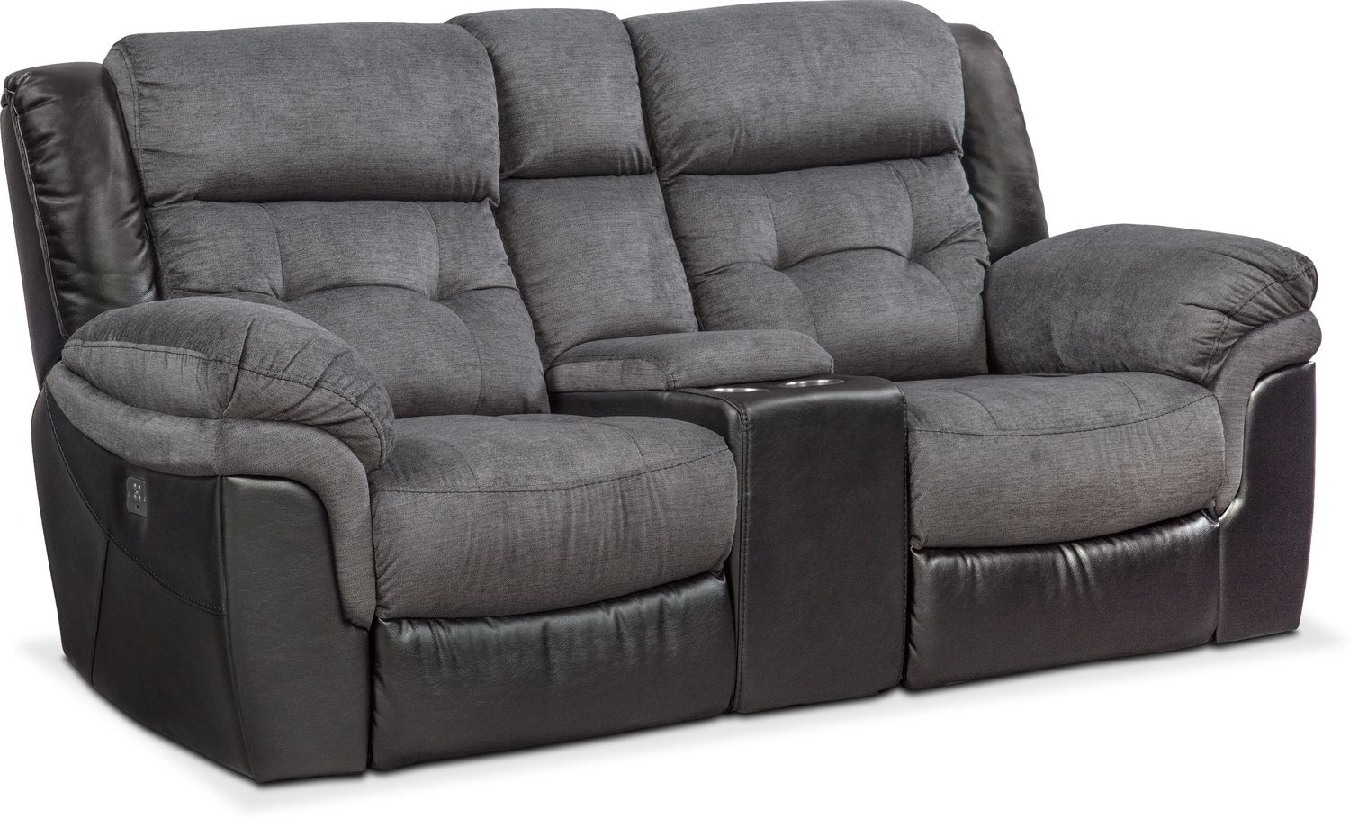 Tacoma Dual Power Reclining Loveseat With Console Black