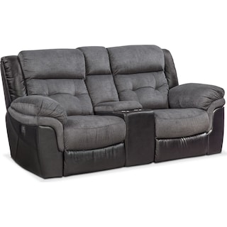 Tacoma Dual-Power Reclining Loveseat - Black