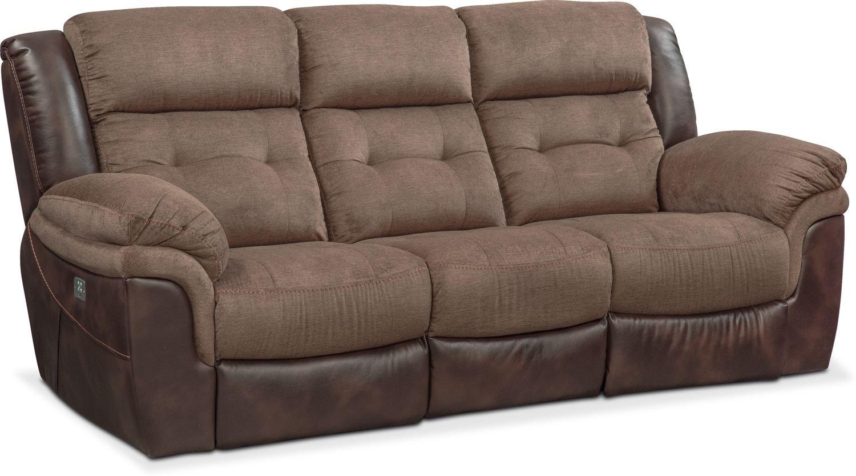 Living Room Furniture   Tacoma Dual Power Reclining Sofa   Brown