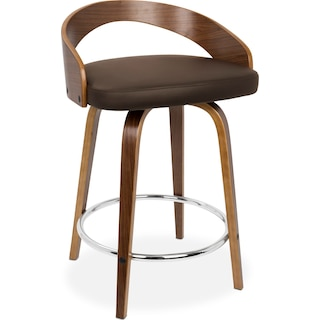 Finn Set of 2 Counter-Height Stools - Brown
