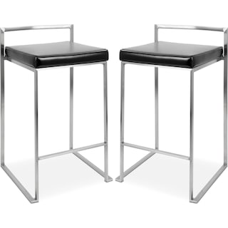Doric Set of 2 Counter-Height Stools - Black