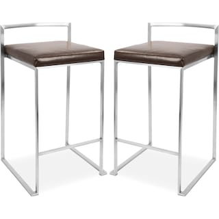 Doric Set of 2 Counter-Height Stools - Gray