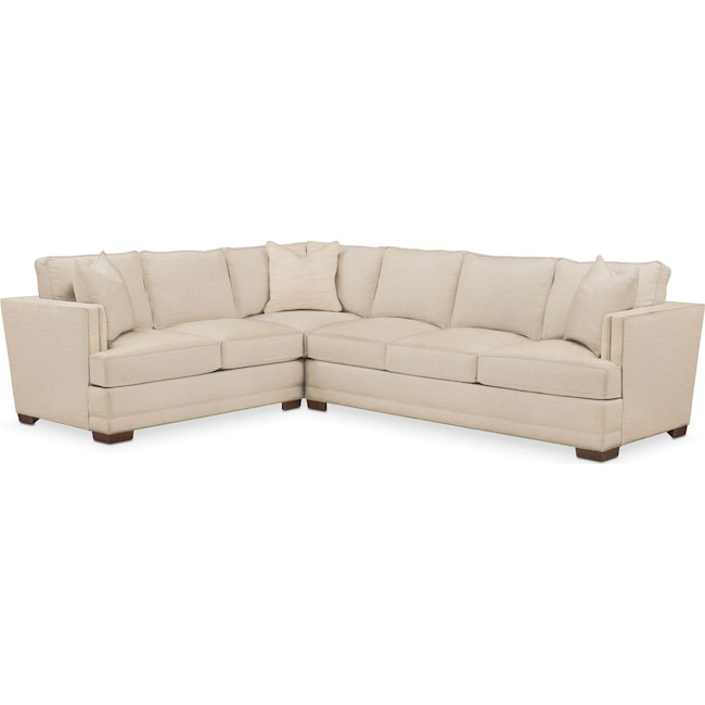 Living Room Furniture - Arden 2 Pc. Sectional with Right Arm Facing Sofa- Cumulus in Anders Ivory