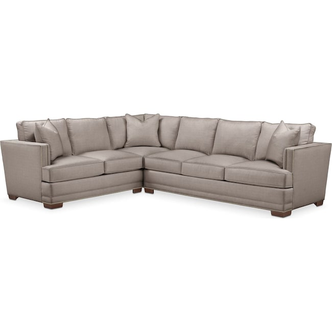 Living Room Furniture - Arden 2 Pc. Sectional with Right Arm Facing Sofa- Cumulus in Abington TW Fog