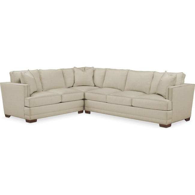 Living Room Furniture - Arden 2 Pc. Sectional with Right Arm Facing Sofa- Cumulus in Abington TW Barley