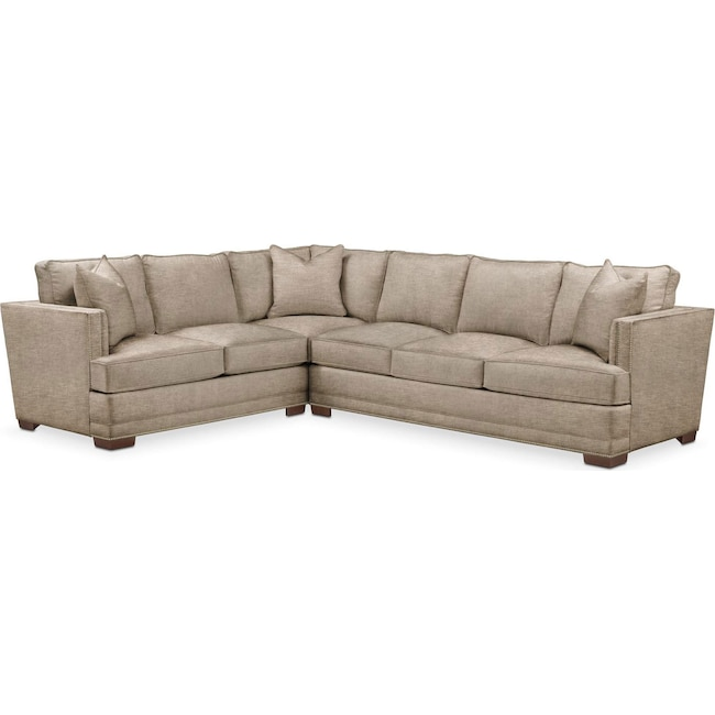 Living Room Furniture - Arden 2 Pc. Sectional with Right Arm Facing Sofa- Cumulus in Dudley Burlap