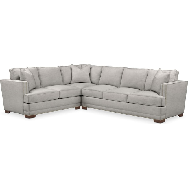 Living Room Furniture - Arden 2 Pc. Sectional with Right Arm Facing Sofa- Cumulus in Dudley Gray