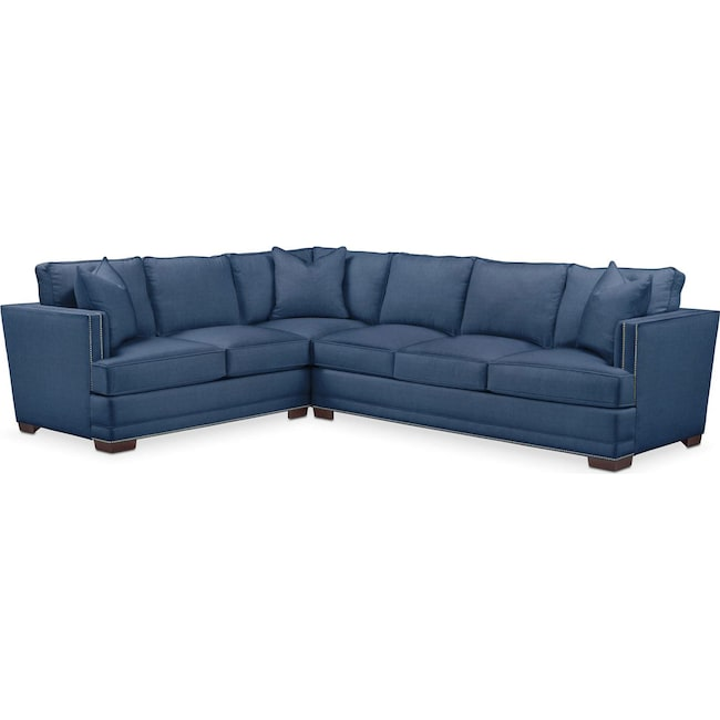 Living Room Furniture - Arden 2 Pc. Sectional with Right Arm Facing Sofa- Cumulus in Hugo Indigo