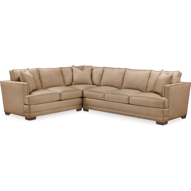 Living Room Furniture - Arden 2 Pc. Sectional with Right Arm Facing Sofa- Cumulus in Hugo Camel