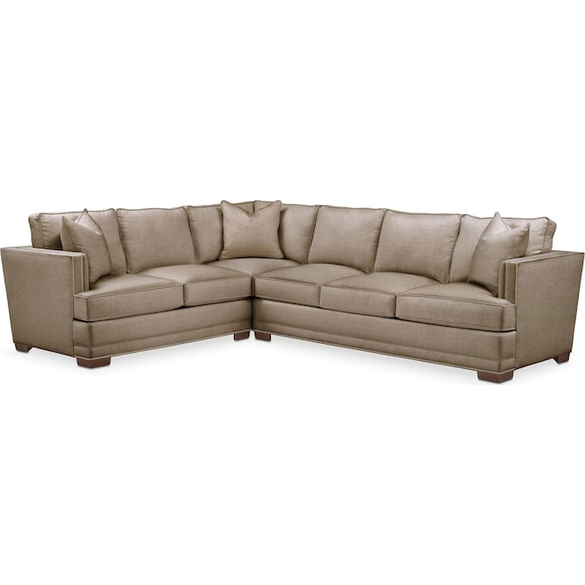 Living Room Furniture - Arden 2-Piece Sectional with Right-Facing Sofa - Cumulus in Statley L Mondo