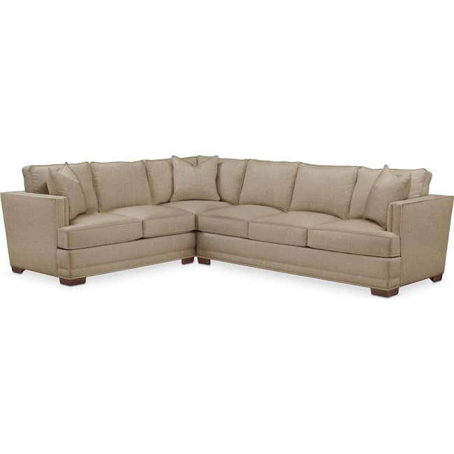 Living Room Furniture - Arden 2-Piece Sectional with Right-Facing Sofa - Cumulus in Milford II Toast