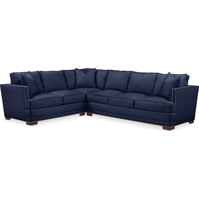 Living Room Furniture - Arden 2 Pc. Sectional with Right Arm Facing Sofa- Cumulus in Oakley III Ink