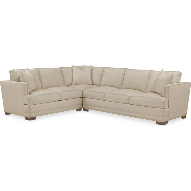 Living Room Furniture - Arden 2 Pc. Sectional with Right Arm Facing Sofa- Cumulus in Depalma Taupe