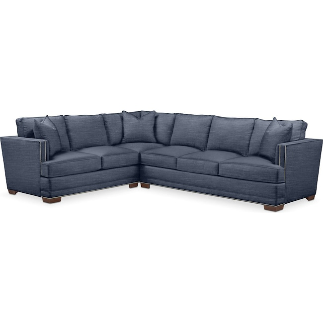Living Room Furniture - Arden 2-Piece Sectional with Right-Facing Sofa - Cumulus in Curious Eclipse