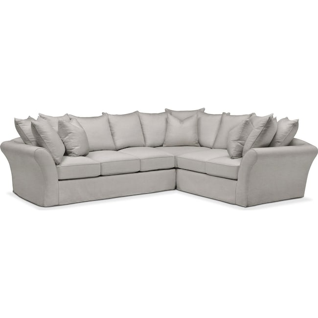 Living Room Furniture - Allison 2-Piece Sectional with Left-Facing Sofa  - Comfort in Dudley Gray
