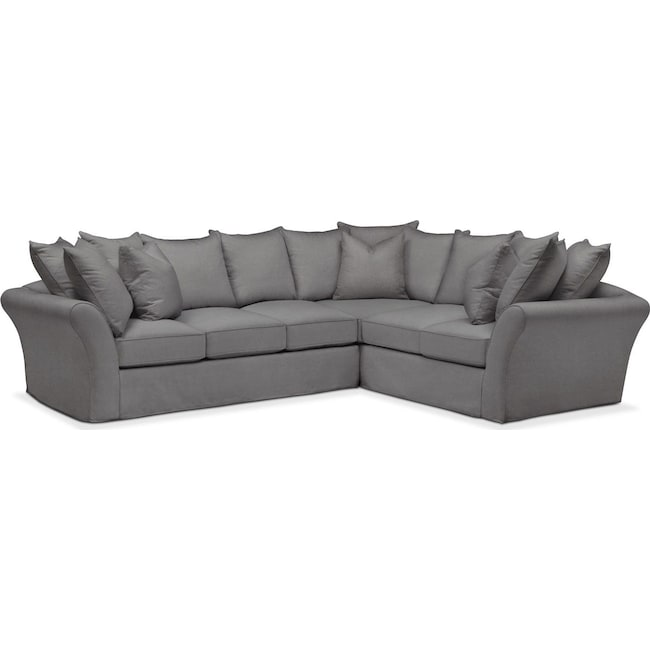 Living Room Furniture - Allison 2-Piece Sectional with Left-Facing Sofa  - Comfort in Hugo Graphite