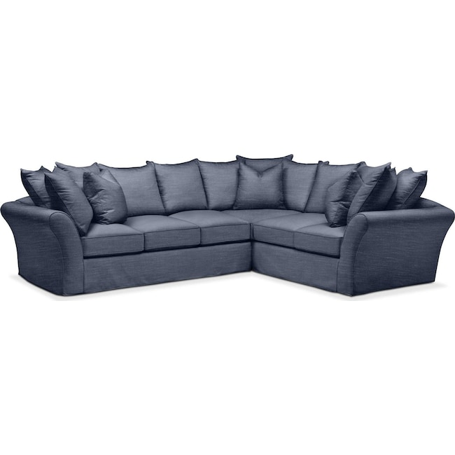 Living Room Furniture - Allison 2 Pc. Sectional with Left Facing Sofa- Comfort in Curious Eclipse