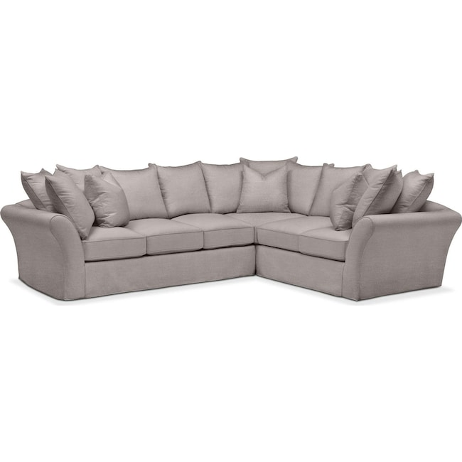 Living Room Furniture - Allison 2-Piece Sectional with Left-Facing Sofa  - Comfort in Curious Silver Rine