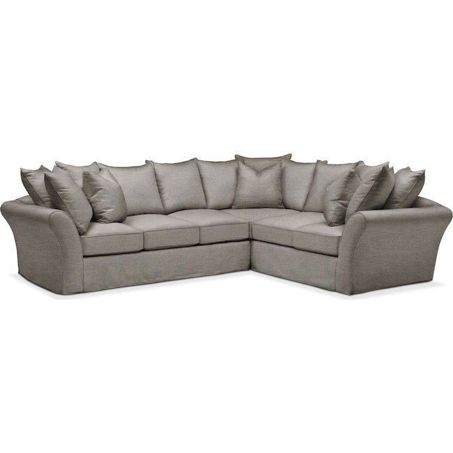Living Room Furniture - Allison 2 Pc. Sectional with Left Facing Sofa- Comfort in Victory Smoke