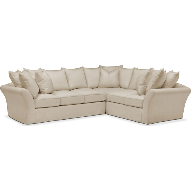 Living Room Furniture - Allison 2 Pc. Sectional with Left Facing Sofa- Comfort in Depalma Taupe