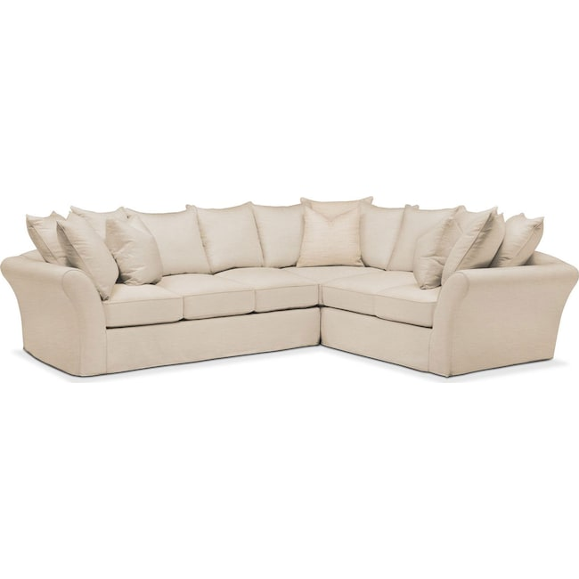 Living Room Furniture - Allison 2 Pc. Sectional with Left Facing Sofa- Cumulus in Anders Ivory