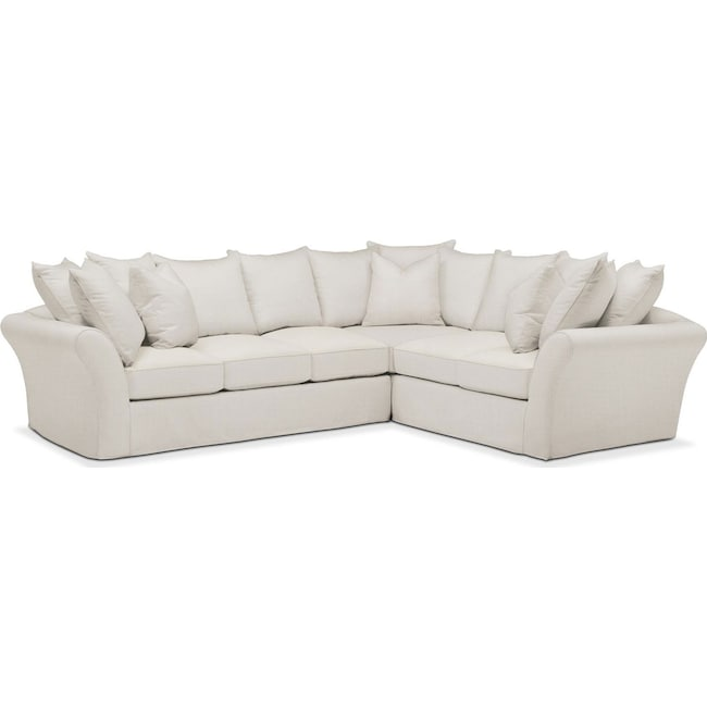 Living Room Furniture - Allison 2 Pc. Sectional with Left Facing Sofa- Cumulus in Victory Ivory