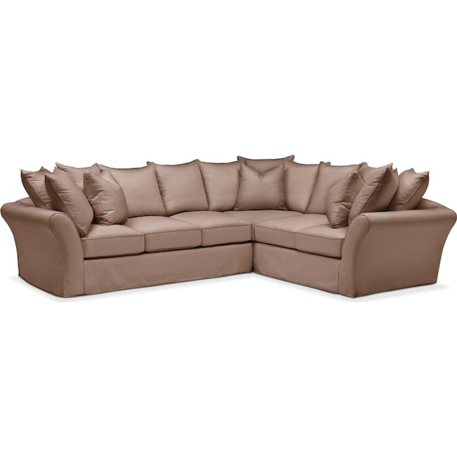 Living Room Furniture - Allison 2 Pc. Sectional with Left Facing Sofa- Comfort in Abington TW Antler
