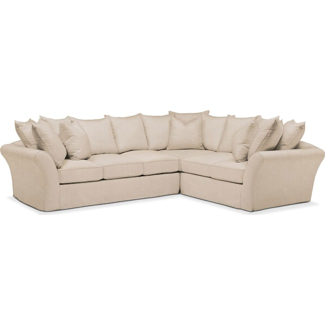 Living Room Furniture - Allison 2-Piece Sectional with Left-Facing Sofa - Comfort in Dudley Buff