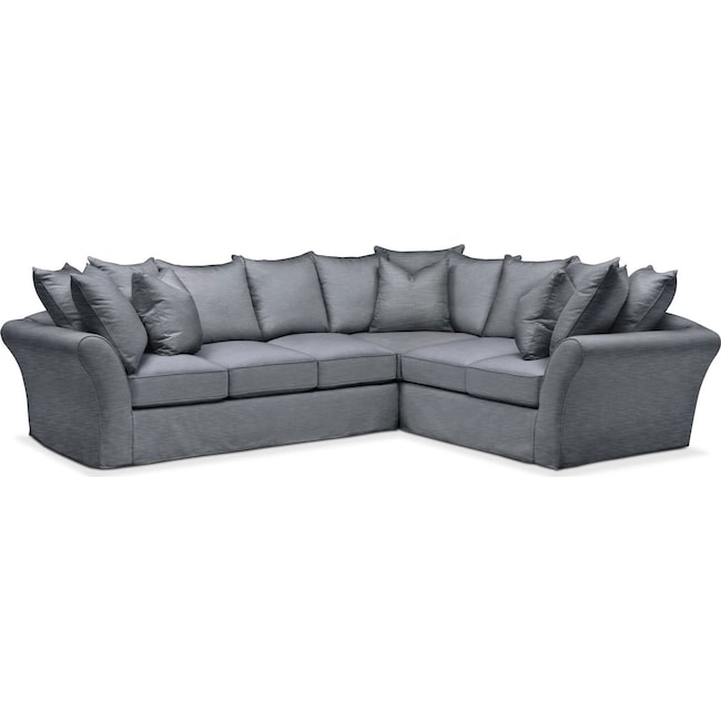 Living Room Furniture - Allison 2 Pc. Sectional with Left Facing Sofa- Comfort in Dudley Indigo