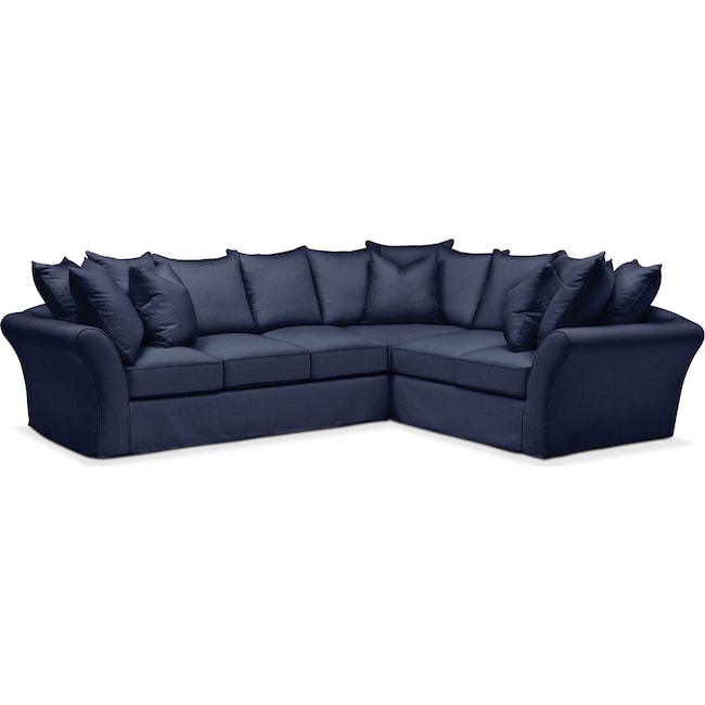 Living Room Furniture - Allison 2 Pc. Sectional with Left Facing Sofa- Comfort in Oakley III Ink